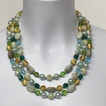 Vintage Glass Bead Choker 3 Strand Necklace Estate Sale Find - $23.38