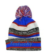 Kentucky 4-Color Embroidered Winter Knit Pom Beanie Hat (Blue/Blue Script) - $13.98