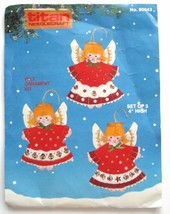 Vintage Christmas Angel Ornament Kit Jeweled Felt Embroidery #80042 Titan  - $24.14
