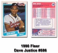 1990 Fleer #586 Dave Justice Atlanta Braves Baseball Card - $6.00