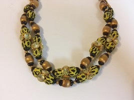 Yellow Leopard Necklace Vintage Beaded Gold Metal Rhinestone 2 Strand Un... - $55.00