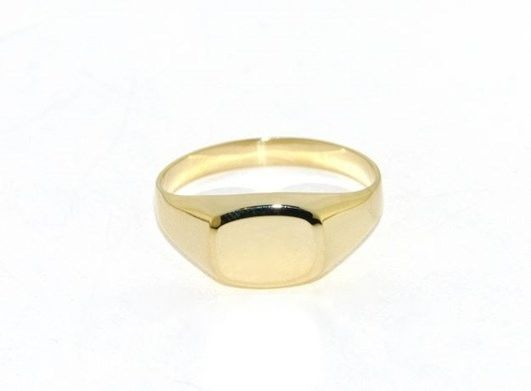 18K YELLOW GOLD BAND MAN RING RECTANGULAR ENGRAVABLE BRIGHT SMOOTH MADE IN ITALY