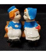 Vintage Ceramic Dutch Boy & Girl Salt and Pepper Shakers w Wood Bench Bl... - $14.49