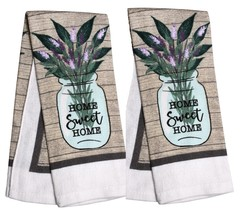 KITCHEN TOWELS Set of 2 Home Sweet Home Lavender Green Brown Beige Cotton