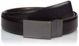 Calvin Klein Men's Reversible Plaque Buckle 30mm Genuine Leather Belt 7539196