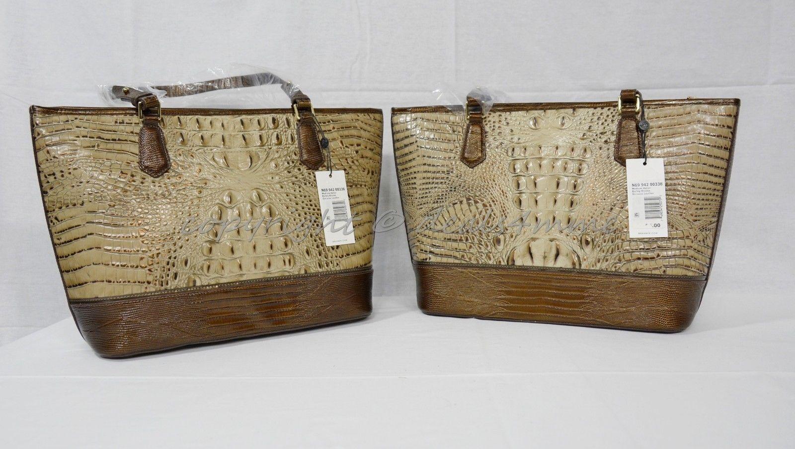 NWT Brahmin Medium Asher Leather Tote/Shoulder Bag Barley Bronte - Beige Brown image 12