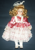 NICE 14 INCH PORCELAIN VICTORIAN DOLL IN SATIN DRESS - $15.00
