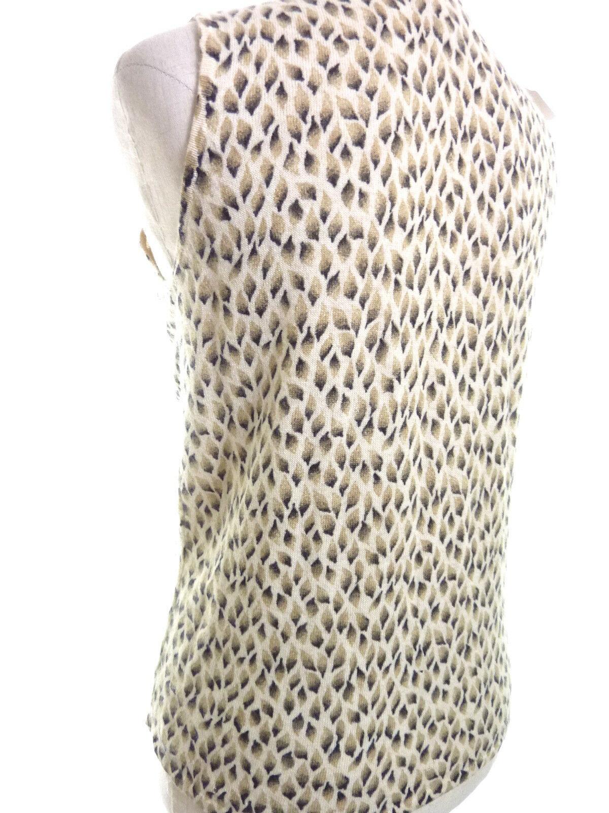 Ann Taylor Wool Sweater Vest Medium Animal Print Brown Beige Angora Blend image 3