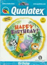 "Birthday Jungle Friends  Mylar Foil Balloon by Qualatex 18"" - $6.82"