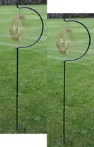 Two (2) 63 in iron C shape shepherd hook garden yard wind spinner ground stands - $55.00