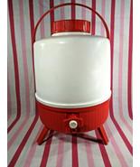 Fab Vintage MoD KETER Red & White Insulated Jug Tripod Pedestal Cooler w... - $38.00