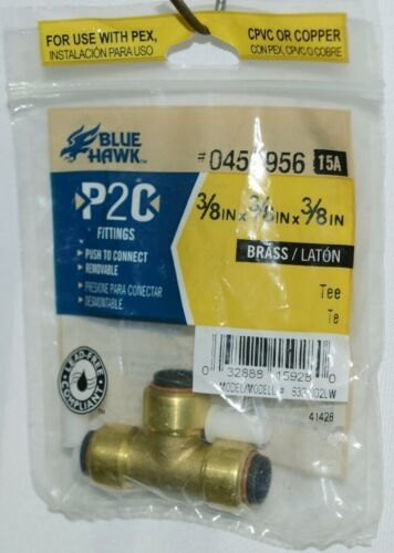 Blue Hawk 0457956 P2C Brass Fitting Tee Lead Free Removable
