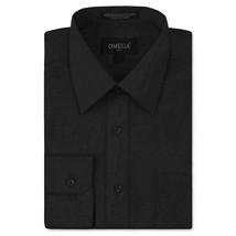 Omega Italy Men's Long Sleeve Solid Regular Fit Black Dress Shirt - 2XL image 1