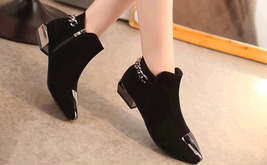 PB156 elegant pointy booties w plate and thick chain,  size 5-8.5, black - $48.80