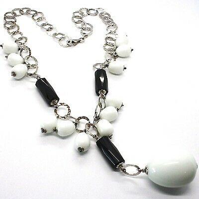 Halskette Silber 925, Onyx Schwarz, Achat Weiß Tropf , Wasserfall Anhänger