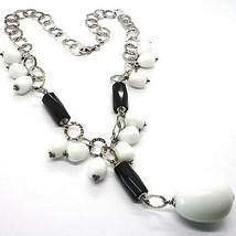 Halskette Silber 925, Onyx Schwarz, Achat Weiß Tropf , Wasserfall Anhänger image 1