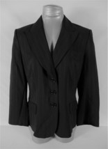 ANN TAYLOR womens Sz 10 L/S black GRAY pinstripe WOOL button LINED jacke... - $25.98