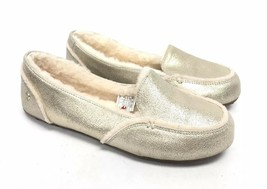 UGG Australia Hailey Metallic Platinum Gold Sheepskin Suede Loafers 1020029 sz 8 - $79.99