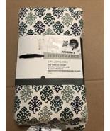 Threshold Performance King Printed Pillowcases 400 TC Cotton White Green - $14.25