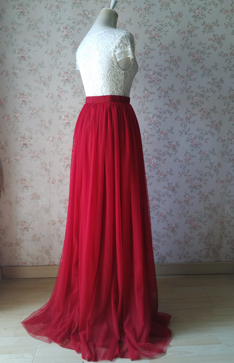 Red tulle bridesmaid wedding skirt 38 750 04