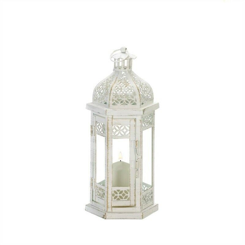 Antique-Style White Floral Hanging Candle Lantern image 2