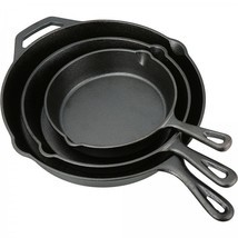 Cast Iron Skillet Set 3 Piece Durable Preseasoned Frying Pan Camping Coo... - $48.95