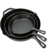 Cast Iron Skillet Set 3 Piece Durable Preseasoned Frying Pan Camping Coo... - £37.77 GBP
