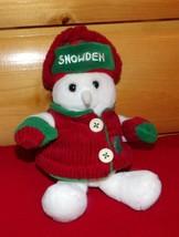 "SNOWDEN Snowman Holiday Plush 9"" Wears Red Cord Jacket & Green Trim Hat - $6.89"