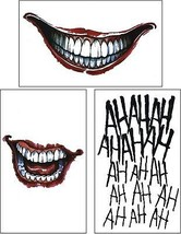 Cokohappy 3 Pcs Ss Temporary Tattoo Hq And The Joker Sticker For Costume / - $13.47