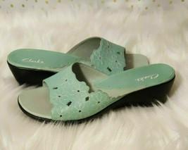 Clarks Green Floral Leather Slides 7.5 - $29.99