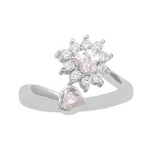 Cubic Zirconia Love Heart You & Me Ring 925 Silver Girls Valentine Day J... - $21.28