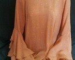 LC Lauren Conrad Peach Shade Blouse with Hearts, Bell Sleeves, Size Large
