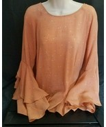 LC Lauren Conrad Peach Shade Blouse with Hearts, Bell Sleeves, Size Large - £9.38 GBP