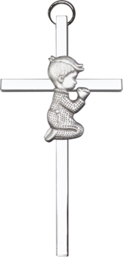 Primary image for Praying Boy Wall Cross - Silver Finished