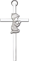 Praying Boy Wall Cross - Silver Finished - $40.99
