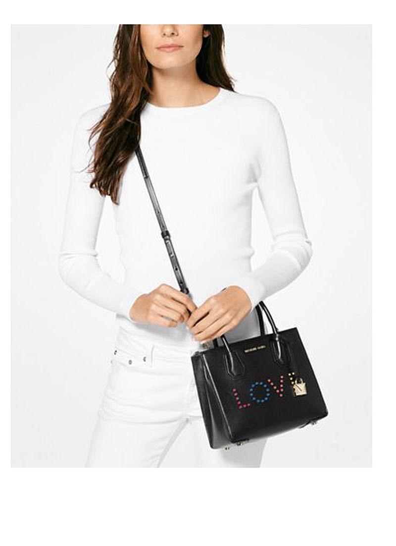 6195b7c7d837 Michael Kors Mercer Medium Messenger Love Leather bag purse BLACK NWT