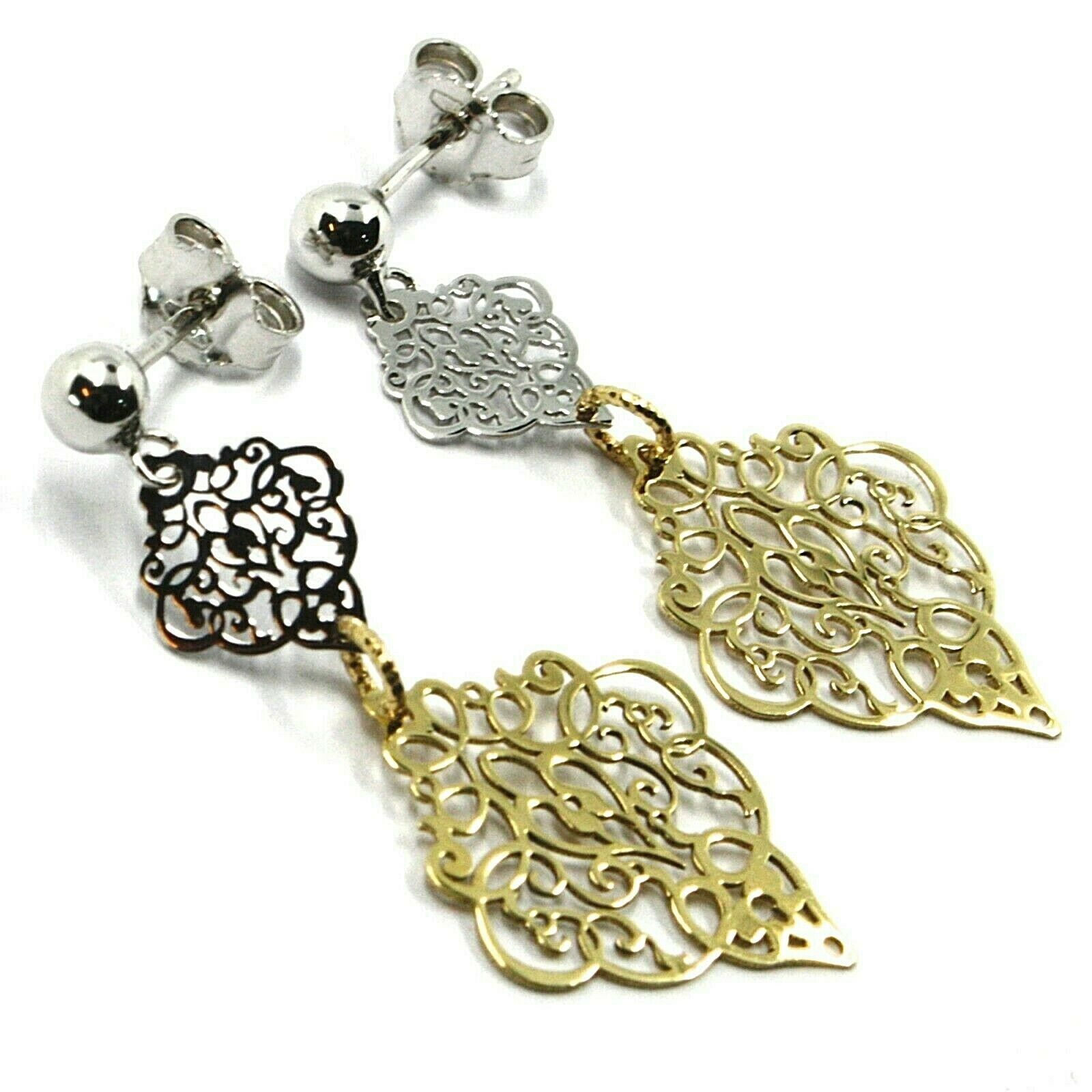 18K YELLOW WHITE GOLD PENDANT EARRINGS, DOUBLE WORKED RHOMBUS, MADE IN ITALY