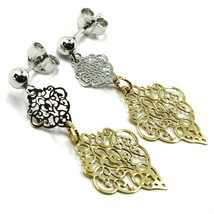 18K YELLOW WHITE GOLD PENDANT EARRINGS, DOUBLE WORKED RHOMBUS, MADE IN ITALY image 1