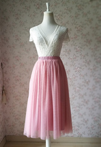 Dusty Rose High Waist Midi Tulle Skirt Dusty Rose Bridal Bridesmaid Tulle Skirts