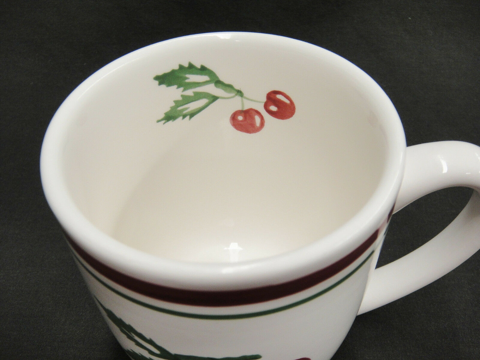 Tag Vintage Cherry Pattern Mug Red and Green Bands Cherries on Stems Leaves image 3