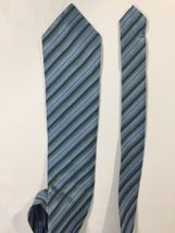 Alfani Men Light Blue Tie Silk Black Striped Size 58 Length 3 Inches width image 9