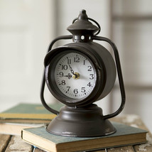 Country TRAIN LANTERN CLOCK Farmhouse Rustic Vintage Style Decor Table S... - $55.99