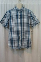 Alfani Mens Shirt Sz XL Blue Jewel Button Down Short Sleeve Slim Fit Men... - $19.71