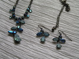 Estate Demi Frosted & Not Shades of Blue Rhinestone Abstract ANGEL Necklace image 3