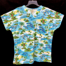 Scrubs of Key West Medium Tropical Dolphin Floral Beach Aloha Nurse USA Vet Tech - £15.99 GBP
