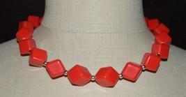 Red Acrylic Diamond Shape Geometric Bead Beaded Silver Tone Choker Necklace - $19.80