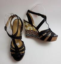 Nine West Shoes Sandals Black Multi-Color Wedge Heels 7 Greta Womens Size 6.5 M - $44.51