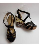 Nine West Womens Shoes Sandals Black Multi-Color Wedge Heels 7 Greta Siz... - $44.50