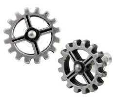 Industrilobe Steampunk Gears Earrings Surgical Posts Pair E353 Alchemy G... - $14.95