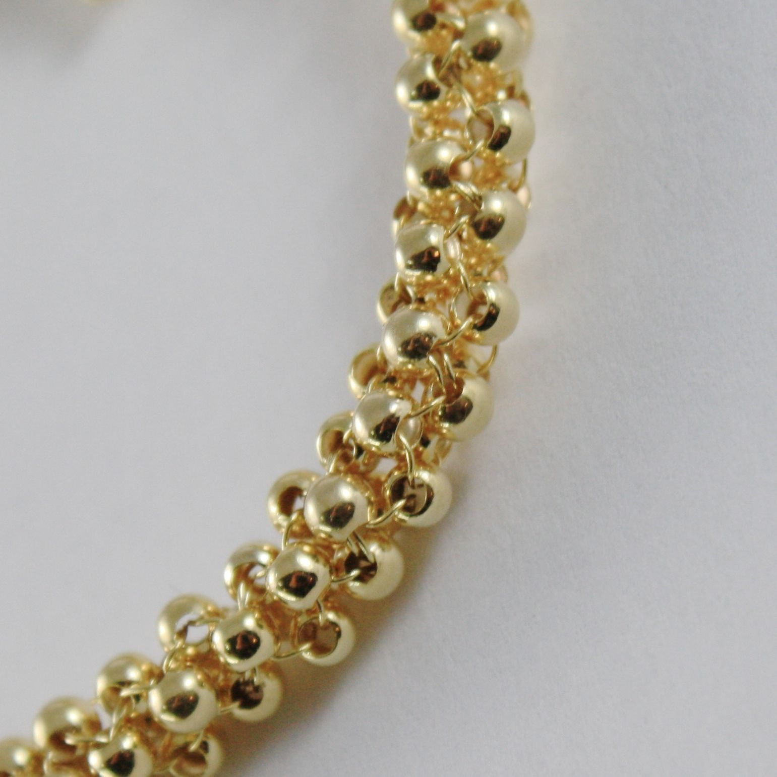 18K YELLOW GOLD BRACELET BIG BASKET LINK, 4 CIRCLES ROLO ROWS, MADE IN ITALY